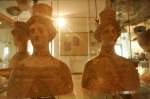 Terracotta busts of the fertility goddesses Persephone and Demeter in the museum of Aidone, Sicily.