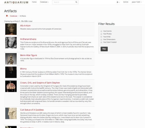Antiquarium objects page