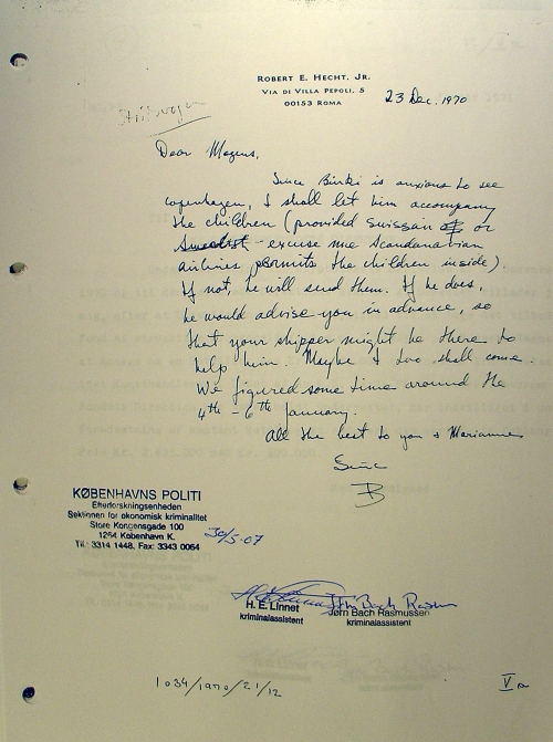 "A 1970 letter from Hecht to Mogens Gjødesen discusses sending ""the children"" to Copenhagen."