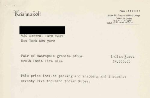 Dwarapalas receipt